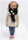 Меховой шарф Мишка для взрослых и детей Черный