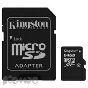 Карта памяти Kingston microSDCX 64GB Class10(SDCX10/64GB)+адаптер