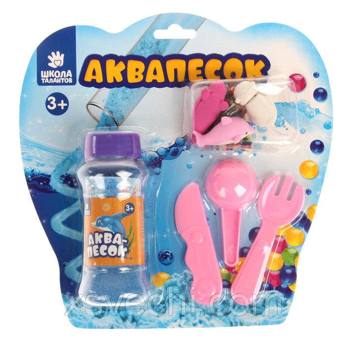 """Набор аквапеска """"Северный полюс"""" с игрушками, песок голубой 100 гр, гидрогель 15 гр, лопатки 26244"""