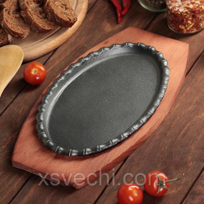 """Сковорода на деревянной подставке """"Овал.Кайма"""" 23х14,5 см"""