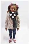 Меховой шарф Мишка для взрослых и детей Серый