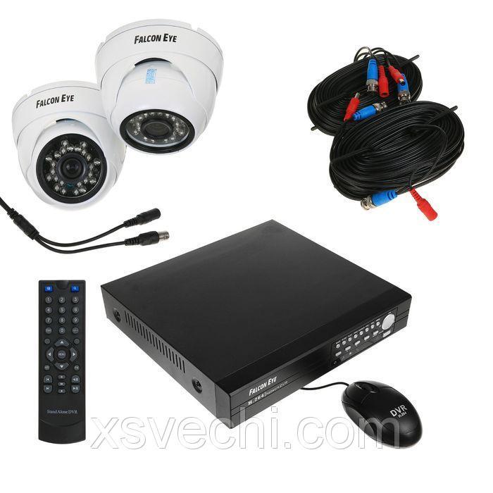 Комплект видеонаблюдения Falcon Eye FE-104D KIT Light Dome.1, CVBS, 700 ТВЛ, 2 уличные