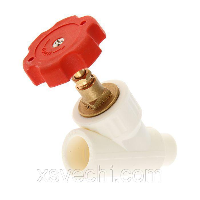 Вентиль полипропиленовй VALFEX, d=25 мм, 45°, сварка внутреняя/наружная