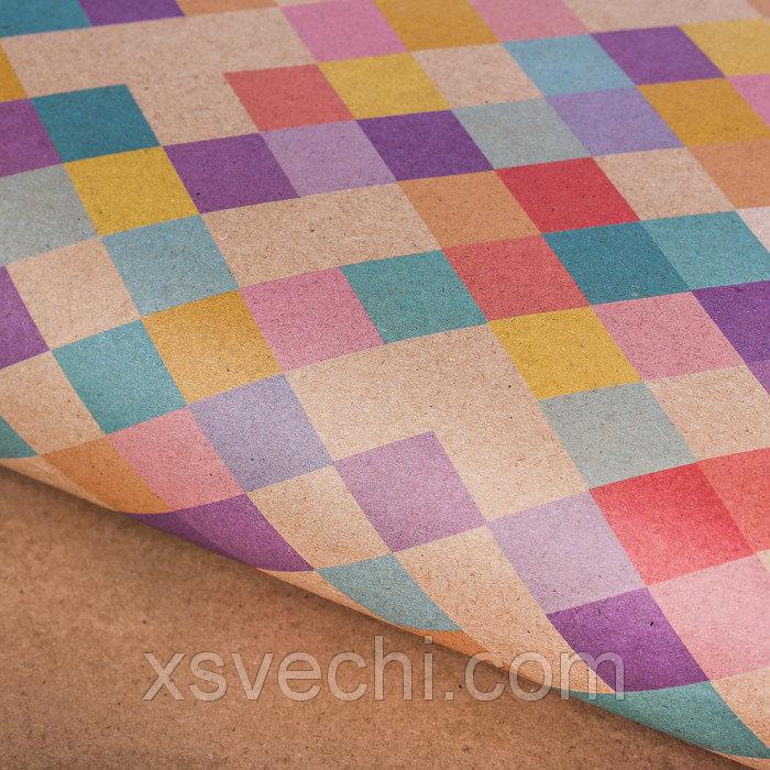 "Бумага подарочная крафт ""Цветные ромбики"", 50х70 см"