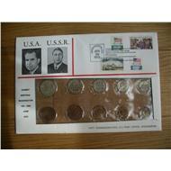 Годовой набор 1972 в конверте Брежнев - Никсон