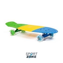 """Скейт пластиковый трехцветный 27X8"""" с колесами Monster"""