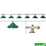 Лампа на шесть плафонов «Ravena»  (золотистая штанга, зеленый плафон D38см), интернет-магазин товаров для бильярда Play-billiard.ru