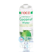 кокосовая вода FOCO 1л Тetra Paсk упаковка - 12 шт