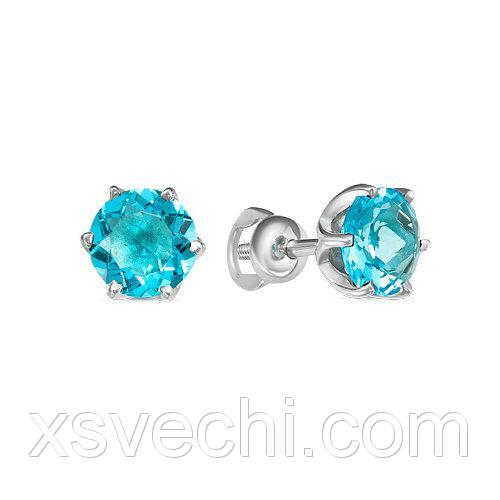 Пусеты из серебра 925 пробы с голубыми фианитами - 934
