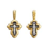 """Крест малый, """"Распятие Христово. Валаамская икона Божией Матери"""", серебро 925°, с позолотой"""