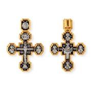 """Крест """"Распятие Христово. Покров Пресвятой Богродицы. Шесть святых"""", серебро 925° с позолотой"""