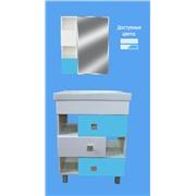 Комплект мебели цвет голубой Домино 60 тумба+мойка и зеркальный шкафчик