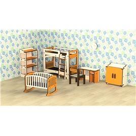 """M-WOOD Кукольная мебель деревянная M-WOOD """"Детская"""" 8  предметов"""