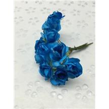 Букетик роз бумажный цвет: голубой (blue). Размер цветка 15мм