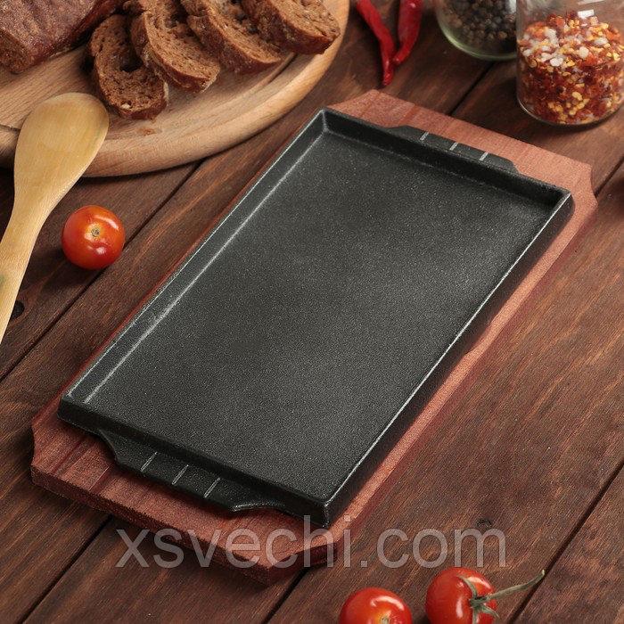 """Сковорода на деревянной подставке """"Прямоугольник"""" 27х14,5 см"""