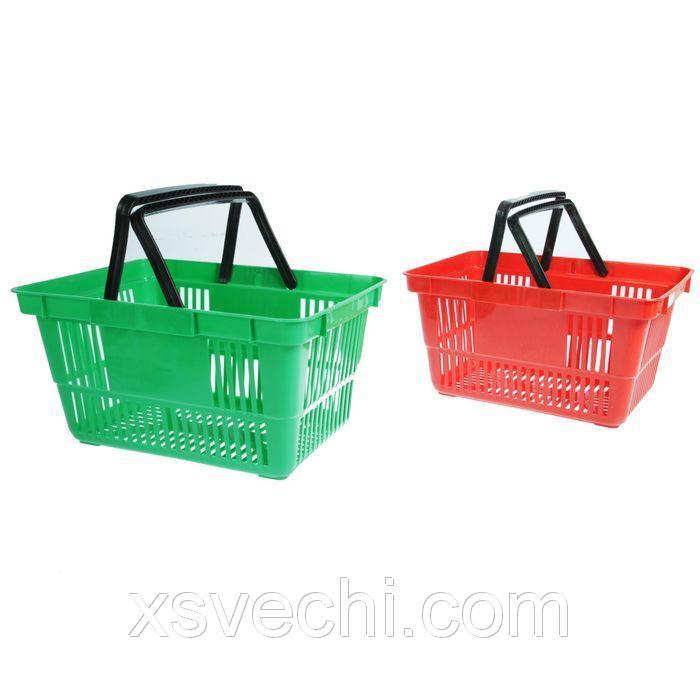 Корзина покупательская пластиковая с ручками, объём 20л, цвет МИКС (зелёный, красный)