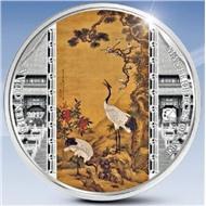 Острова Кука 2017, 20 долларов, серебро 3 унции. Шедевры мирового искусства. Шэнь Цюань, Журавли.