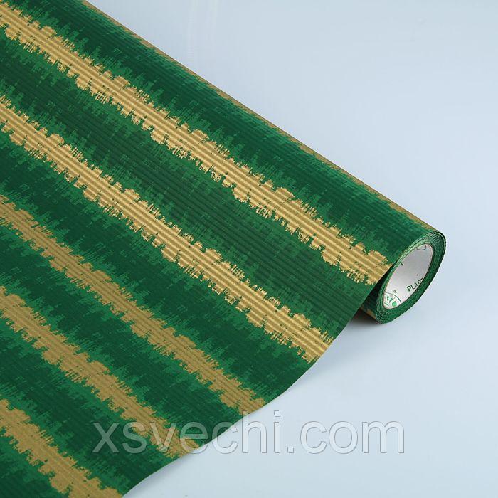 """Бумага упаковочная крафт """"Береста"""", зеленый-белый, 0.5 х 10 м"""
