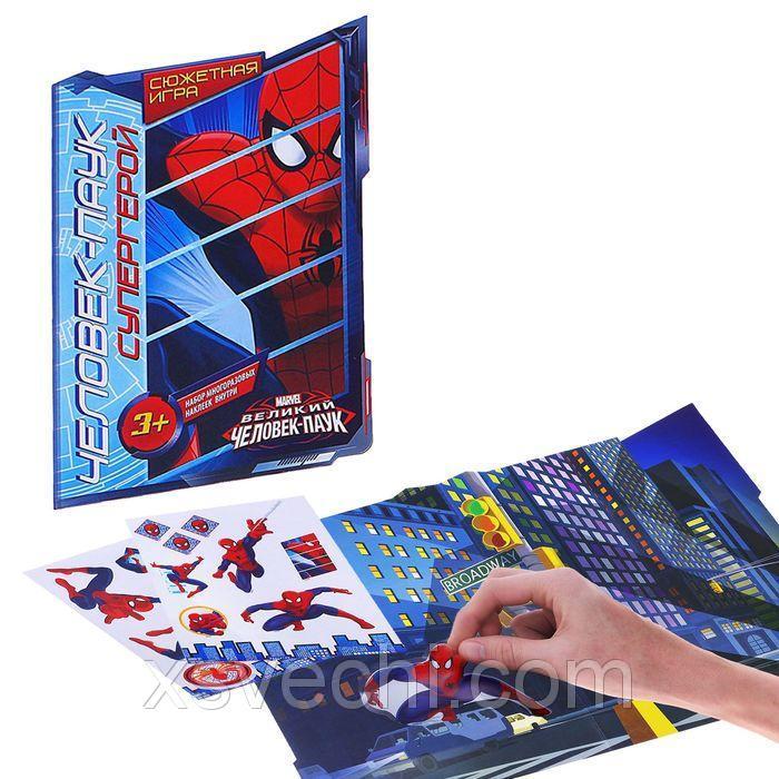 """Игра """"Сказка с многоразовыми наклейками"""", """"Человек-паук супергерой"""", Человек-паук"""