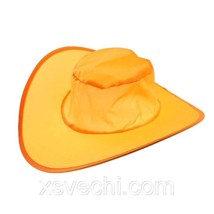 Шляпа складная в чехле, цвет оранжевый, обхват головы 58 см, ширина полей 9 см