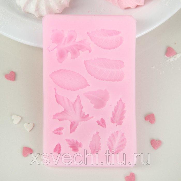 """Молд 10х6х1 см """"Гербарий"""", цвет розовый"""