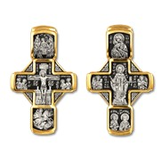 """Крест """"Распятие Христово. Николай Чудотворец"""", серебро 925° с позолотой"""