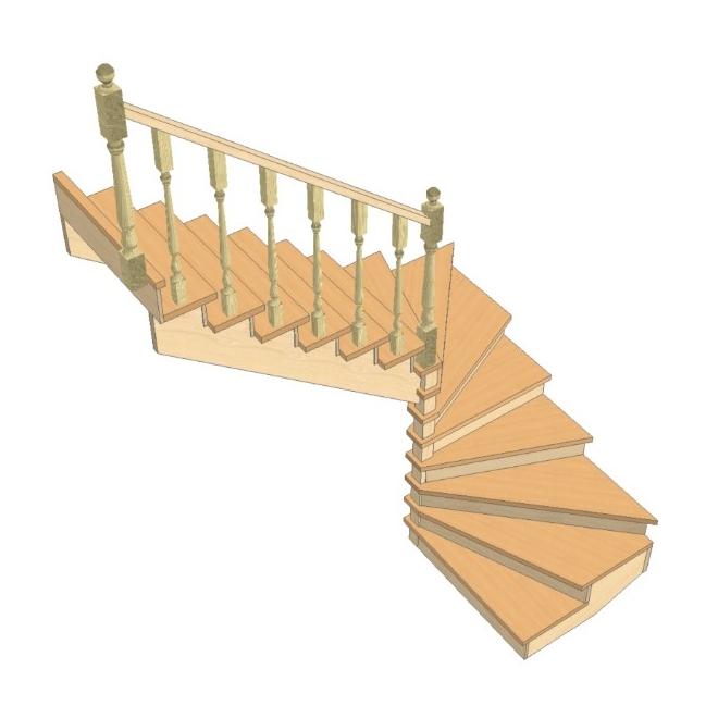 Лестница своими руками с поворотом на 180  859