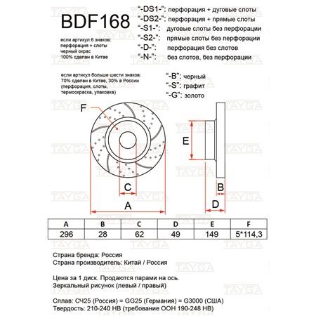 BDF168-D-S - ПЕРЕДНИЕ