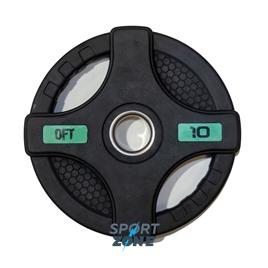 Диск олимпийский обрезиненный черный с двумя хватами 10 кг