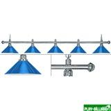 Лампа на пять плафонов «Blue Light» (серебристая штанга, синий плафон D35см), интернет-магазин товаров для бильярда Play-billiard.ru