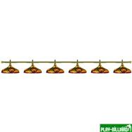 Лампа на шесть плафонов «Colorful» (золотистая штанга, цветной плафон D44см), интернет-магазин товаров для бильярда Play-billiard.ru