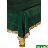 Покрывало для стола 10 ф (вельвет, зеленое/желтая бахрома), интернет-магазин товаров для бильярда Play-billiard.ru