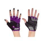 Перчатки для фитнеса SU-113, черные/фиолетовые/серые