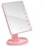 Косметическое зеркало с подсветкой large led Розовое