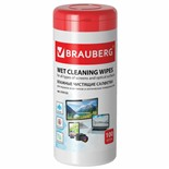 Салфетки влажные для экранов и оптики Brauberg 100 шт в тубе 510122