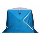 Зимняя палатка куб Пингвин Призма Премиум Strong двухслойная (белый/синий)
